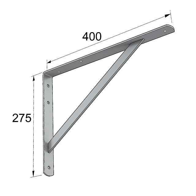 HEAVY DUTY SHELF BRACKET 400x275mm/225kg  GREY